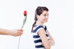 Man surprising his girlfriend Royalty Free Stock Images
