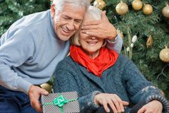 Man Surprising Senior Woman With Christmas Gifts. Happy senior men surprising women with Christmas gift in store Stock Photo