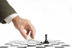 Man surrenders in chess game. Concept of failure Royalty Free Stock Photos