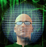 Man surrounded by email Symbols Royalty Free Stock Photos