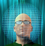 Man surrounded by email Symbols Royalty Free Stock Images