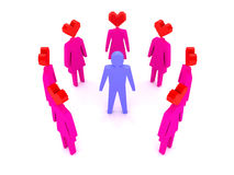 A man surrounded by women in love. Royalty Free Stock Photo