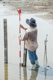 Man survey boundary of area Royalty Free Stock Photos