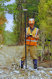 Surveyor at work. Man surveying the location of geophones for a seismic reflective survey on the West Coast of New Zealand Royalty Free Stock Photo