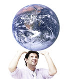 Man sustaining the world (world image is from NASA). A young man sustaining the world upon him (world image is from NASA Stock Photography