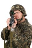Man with svd in studio. Closeup Royalty Free Stock Image