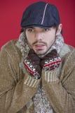 Man in sweater freezing Royalty Free Stock Photo