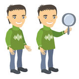 Man in a sweater stands and holds magnifying glass. Businessman cartoon character series of drawings Stock Photos