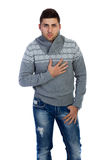 Man in sweater on white background. Casual handsome man looking at camera stock photography