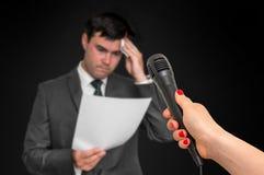 Man is sweating, he afraid of public speech. Nervous man is sweating, he afraid of public speech stock photo