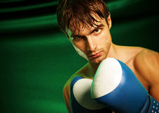 Man sweating all over in boxing gloves Stock Images