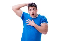 Man sweating excessively smelling bad isolated on white backgrou. Nd Royalty Free Stock Images