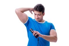 Man sweating excessively smelling bad isolated on white backgrou. Nd Royalty Free Stock Photo