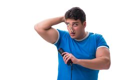 Man sweating excessively smelling bad isolated on white backgrou. Nd Stock Photos