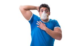 Man sweating excessively smelling bad isolated on white backgrou. Nd stock images