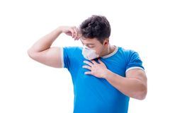 Man sweating excessively smelling bad isolated on white backgrou. Nd Stock Image