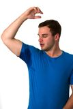 Man sweating very badly under armpit Stock Image