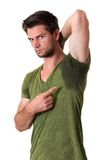 Man sweating very badly under armpit Stock Photos