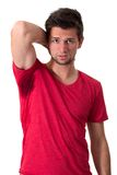 Man sweating very badly under armpit Royalty Free Stock Photos