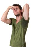 Man sweating very badly under armpit Royalty Free Stock Image