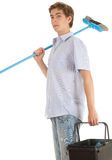 Man with sweep brush Royalty Free Stock Photo