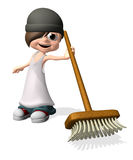Man with sweep brush Stock Photos