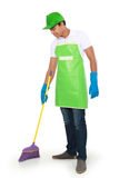 Man sweep floor Royalty Free Stock Images