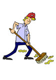 Man sweeping with broom Stock Photo