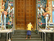 Man sweeping stairs of Murugan Hindu temple, Colombo, Sri Lanka Royalty Free Stock Photos