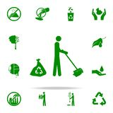 the man sweeps green icon. greenpeace icons universal set for web and mobile stock illustration