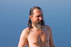 Man after swim. Man after morning swim before Royalty Free Stock Photo
