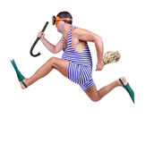 Man in swim dress running Stock Photos