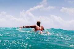 Man swim on surf Royalty Free Stock Photos