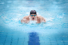 Man swimmer in cap taking breath Stock Photos