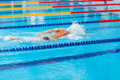 Man swimmer swimming crawl in blue water. Stock Image