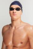 Man in swimming cap Stock Image