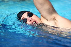 Man swimming crawl stock image