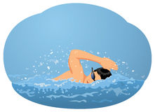 Man swimming crawl. Man in goggles swimming crawl in the pool. Water sport and healthy lifestyle Royalty Free Stock Photo