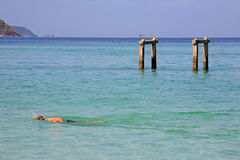 Man swimming on crystal andaman sea at Koh Lipe Stock Photography