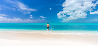 Man swimming in Cuba Royalty Free Stock Image