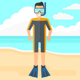 Man with swimming equipment. Stock Image