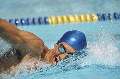 Man Swimming In A Freestyle. Male participant swimming in a freestyle during swimming race Royalty Free Stock Photography