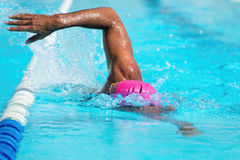 Man swimming the front crawl Stock Image