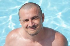 Man in the swimming pool Stock Images