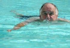 Man in Swimming Pool. A man swimming in a swimming pool stock image