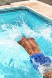 Man in swimming pool. Man having fun  in swimming pool Royalty Free Stock Photo