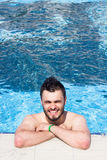 Man swimming in the pool. blue water, summer, Royalty Free Stock Photography