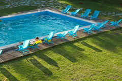 Man swimming pool hotel Royalty Free Stock Images