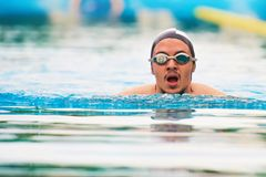 Man swimming in pool stock image