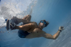 Man in the swimming pool. Man skateboarding underwater in the swimming pool Stock Image
